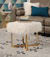 bedroom accents evelyn stainless steel faux fur stool