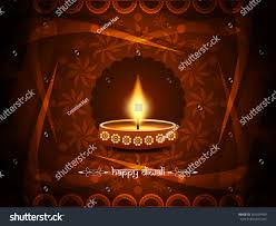 beautiful lamps religious card design diwali festival beautiful stock vector