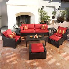 Overstock Patio Furniture Sets - cantina 7 piece sofa seating set with chairs ottomans side table