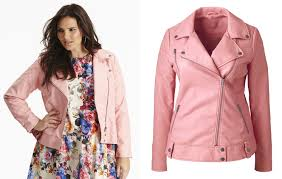 pink motorcycle jacket plus size faux leather biker jacket from simply be plus model