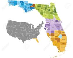 counties map florida state counties map with boundaries and names royalty free