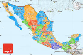 map with labels political simple map of mexico single color outside borders and