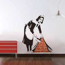 banksy french maid vinyl wall decal sticker street art graffiti banksy french maid vinyl wall decal sticker street art graffiti bedroom kitchen size 57x46cm in wall stickers from home garden on aliexpress com alibaba