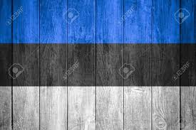 Black And Blue Flag Flag Of Estonia Or Blue Black And White Estonian Banner On Wooden