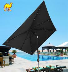 Large Tilting Patio Umbrella by Rectangular Patio Umbrella With Solar Lights Home Outdoor Decoration