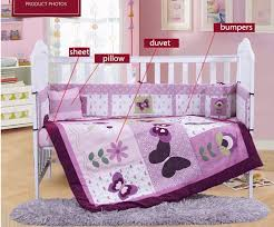 Bed Linen For Girls - 4pcs embroidery purple crib bed linen baby bedding set baby cot