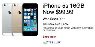 iphone black friday sale telus 16gb iphone 5s sale 99 99 on 2 year term at future shop