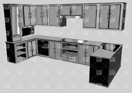 furniture clipart for floor plans kitchen interior furniture design vector clipart image 36805