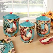 rooster kitchen canisters sunflower rooster kitchen canisters turquoise set of three dishes