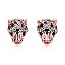 womens stud earrings tiger leopard earrings gold filled personality animal