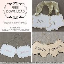 Bride And Groom Chair Signs Free Download Printable Wedding Chair Signs Bride U0026 Groom Signs
