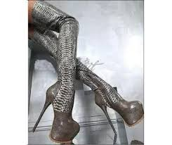 s high heel boots size 11 womes silver snakeskin thigh high platform heel boots platform