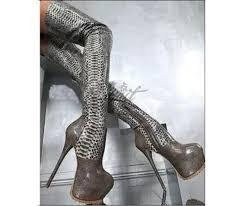 s heel boots size 11 womes silver snakeskin thigh high platform heel boots platform