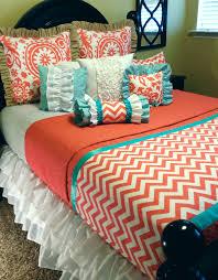 Coral And Teal Bedding Sets Tarrahs Custom Order Coral Chevron Etsy And Coral Bedding Sets