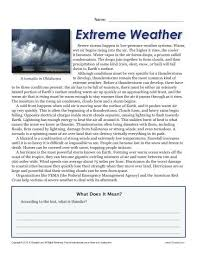 sixth grade reading comprehension worksheet extreme weather