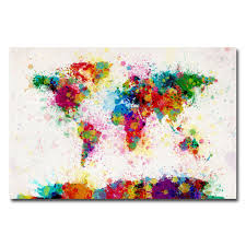 Canvas Map Of The World by Trademark Fine Art 18 In X 24 In Mondrian World Map Canvas Art