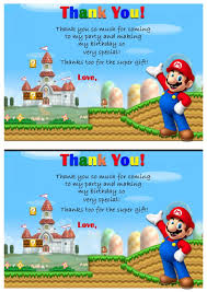 super mario thank you cards u2013 birthday printable