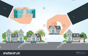human hand holding right house money stock vector 664516333