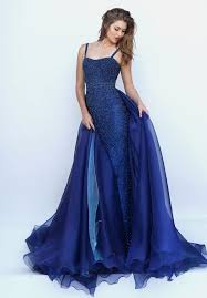fully beaded navy blue satin sheath prom dress with organza wrap