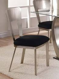 Metal Dining Chairs Set Of 2 Metal Dining Chairs With Black Upholstered Seat In Chrome