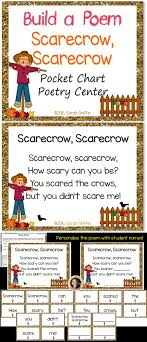 scarecrow build a poem pocket chart center for fall thanksgiving