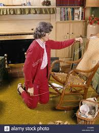 Rocking Chair Seat Repair 1960s Middle Aged Woman Caning Chair Seat Hobby Repair Art Crafts
