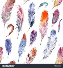 colorful watercolor feathers pattern ethnic hand stock