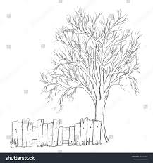 sketch tree fence isolated on white stock vector 351492806