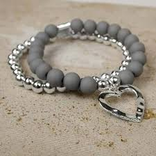 bracelet design beads images Matt grey beads with silver plated beads multilayered bracelet jpg