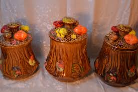 retro vintage ceramic tree trunk mushroom kitchen canisters brown