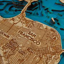 San Francisco Bay Map by Geographical 3d Wood Map San Francisco Bay 15