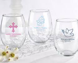 personalized baptism favors personalized 15 oz stemless wine glass christening favors by