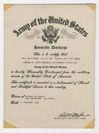 honorable discharge certificate william hahn s discharge certificate the portal to