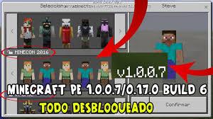 minecraft pe 0 11 0 apk minecraft pe 1 0 0 7 0 17 0 build 6 con todo desbloqueado skins