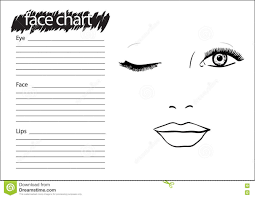 Blank Body Map Template by Female Face Chart Makeup Artist Blank Stock Vector Image 62293876