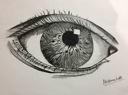 pencil sketch drawing of realistic eye with beautiful and deep eye