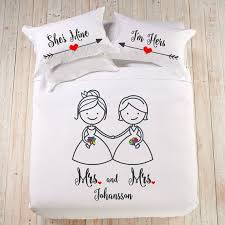 Couples Bed Set Personalized Wedding Gift Mrs And Mrs Cotton Anniversary