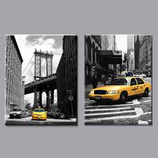 new york city home decor modern black and white yellow taxi canvas painting prints new york