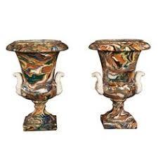 antique pot metal ls large agateware pottery urn sold for 6 518 ceramics pinterest