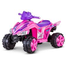 pink kid car kid trax stardust 6v electric ride on atv pink