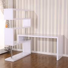 aosom homcom foldable rotating corner desk and shelf combo white