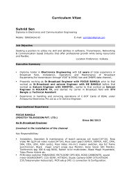 Electronics Engineer Resume Format Television Broadcast Engineer Resume Virtren Com