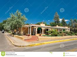 adobe spanish colonial house porch santa fe nm stock photos