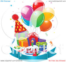 royalty free rf clipart illustration of party balloons presents