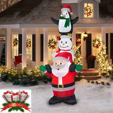 Lighted Penguin Outdoor Christmas Decoration by Inflatable Stacked Santa Snowman Penguin Airblown Outdoor
