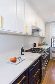 navy blue kitchen cabinets with brass hardware navy and white galley kitchen cliqstudios
