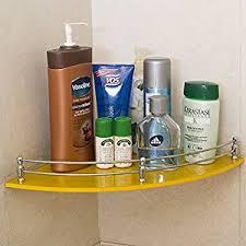 klaxon bathroom corner glass shelf wall shelf 12 12 yellow