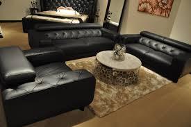 divani casa nantes black italian leather tufted sofa set vig