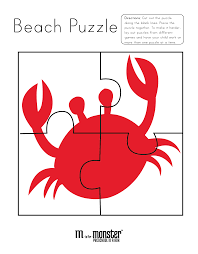 going to the beach puzzles free printable m is for monster