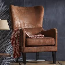 Leather Wingback Chair Gordon High Back Wingback Chair U0026 Reviews Birch Lane